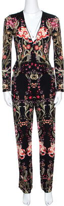 Roberto Cavalli Black Galaxy Garden Printed Long Sleeve Jumpsuit S