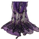 Winhurn Women Peacock Design Flower Embroidered Lace Soft Long Scarf Wrap
