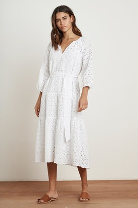 Velvet by Graham & Spencer CHEYNNE COTTON EYELET 3/4 SLEEVE TIERED DRESS