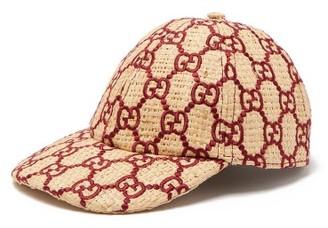 Gucci Snakeskin-trimmed Gg-embroidered Raffia Cap - Burgundy