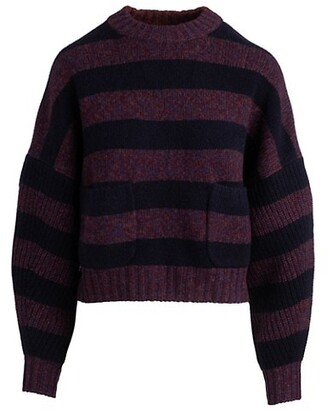 Naadam Striped Cropped Crewneck Cashmere Sweater
