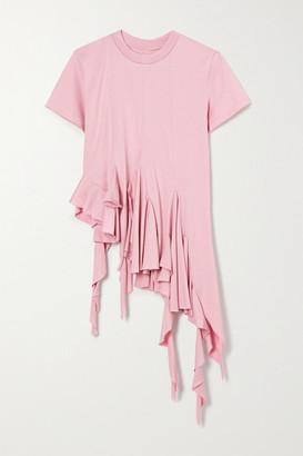 Marques Almeida Asymmetric Ruffled Cotton-jersey T-shirt - Pink