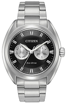 Citizen Bu4010-56e Day Date Bracelet Strap Watch, Silver/black