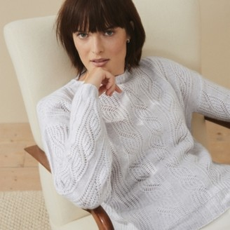 The White Company Cashmere Stitch-Detail Jumper, Soft Grey, Extra Large