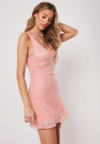 Missguided Pink Lace Cami Plunge Frill Hem Dress