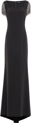 Badgley Mischka Beaded Fringe-trimmed Cady Gown