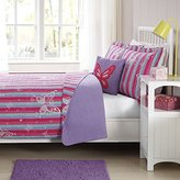 Pem America Laura Hart Kids Quilt Mini Set with BONUS Decorative Pillow (Butterfly Striped, Twin)