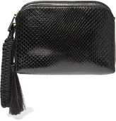 The Row Wristlet Tasseled Python Clutch - Black