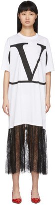 Valentino White VLogo Lace Dress