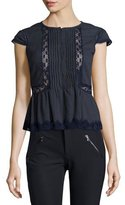 Rebecca Taylor Short-Sleeve Lace-Trim Gauze Top, Navy