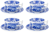 Spode Printed Teacups and Saucers (Set of 4)