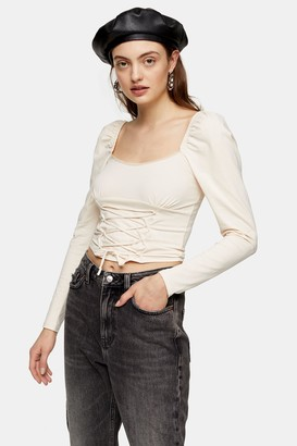 Topshop Cream Long Sleeve Corset Top
