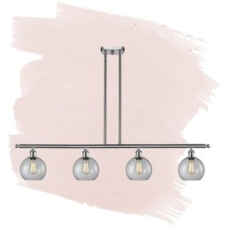 Foundstone Anya 4 - Light Kitchen Island Linear Pendant Finish: Brushed Satin Nickel, Shade Color: Clear