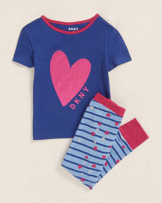 DKNY Girls 7-16) Two-Piece Glitter Heart Tee & Jogger Leggings Set