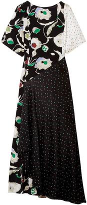 Grey Jason Wu Crinkled Printed Silk-chiffon And Crepe De Chine Maxi Dress