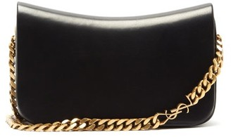 Saint Laurent Elise plaque Leather Shoulder Bag - Black