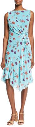 Fuzzi Botanical Floral-Print Side-Shirred Dress