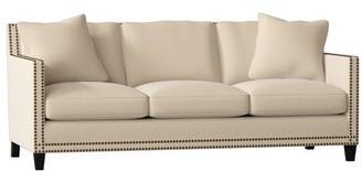 "Gabby Carter 80"" Square Arm Sofa Body Fabric: Avignon Charcoal, Leg Color: Metropolitan, Nailhead Detail: Antique Brass, Cushion Fill: Standard"