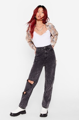 Nasty Gal Womens Acid Wash What You Say Distressed Jeans - Washed Black