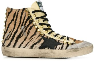 Golden Goose studded tiger print high-tops