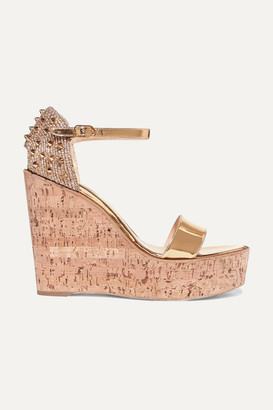 Christian Louboutin Bellamonica 120 Spiked Metallic Jute And Leather Wedge Sandals - Gold