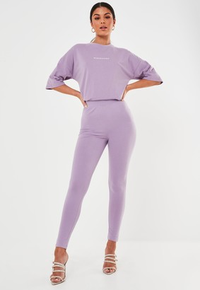 Missguided Petite Lilac Deep Waist Band Leggings