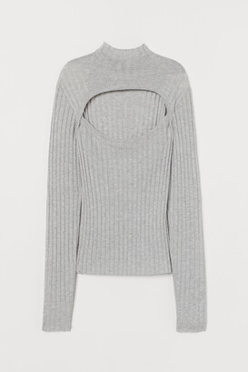H&M Ribbed polo-neck top