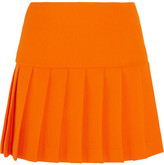 Miu Miu Pleated Wool-crepe Mini Skirt - Orange