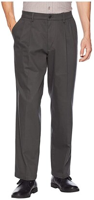 Dockers Relaxed Fit Signature Khaki Lux Cotton Stretch Pants D4 - Pleated (Steelhead) Men's Casual Pants