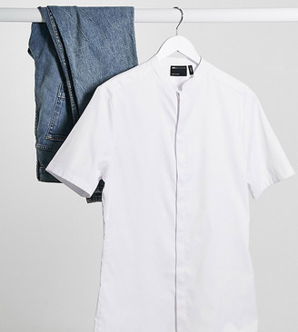 ASOS DESIGN Tall skinny fit sateen shirt with mandarin collar in white with short sleeves