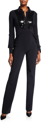 Chiara Boni Sequin-Bib Long-Sleeve Tux Jumpsuit