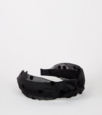 New Look Polka Dot Organza Knot Headband