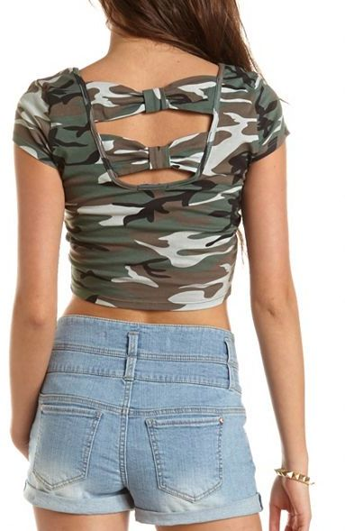 Charlotte Russe Bow-Back Printed Crop Top