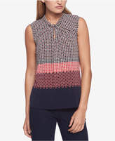 Tommy Hilfiger Mixed-Print Knot-Neck Shell