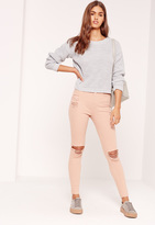 Missguided High Waisted Ripped Knee Skinny Jeans Nude