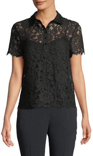 Escada Short-Sleeve Lace Polo Top w/ Camisole