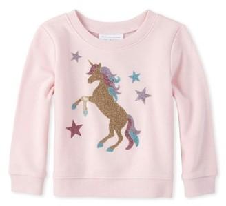 The Children's Place Baby & Toddler Girl Glitter Unicorn Sweatshirt