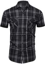 Style by William Plaid Button Down Short Sleeve Shirt Black Gray 1XL