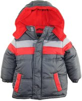 iXtreme Little Boys' CB Stripe Coat with Patch Puffer Hooded Winter Jacket