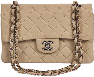 "One Kings Lane Vintage Chanel Grey/cream 9"" Double Flap Silver - Vintage Lux"