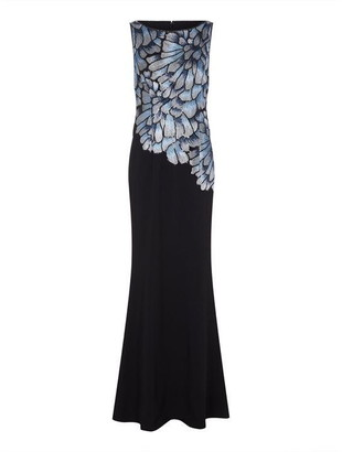 Adrianna Papell Embroidered Crepe Gown