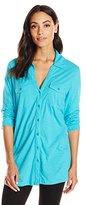 Caribbean Joe Women's Mixed Media Three Quarter Sleeve Tunic Length Button Up