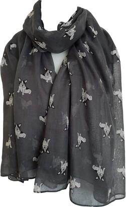 GlamLondon Little Bulldog Print Scarf Long Size French Dogs Animal Printed Ladies Wrap (C18 - Grey)