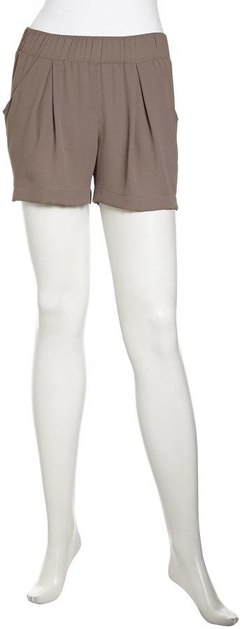 BCBGMAXAZRIA Micah Pintuck Crepe Shorts, Spanish Moss