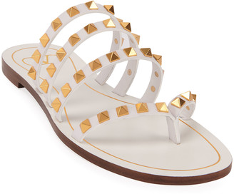 Valentino Rockstud Flair Flat Cage Thong Sandals