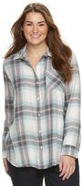 Mudd Juniors' Plus Size Pocket Plaid Flannel Shirt