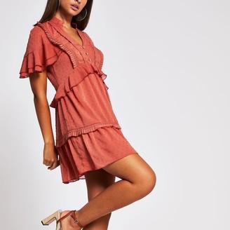 River Island Womens Light Brown frill trim mini dress
