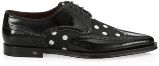 Dolce & Gabbana Leather & Dot-Print Derby Shoes
