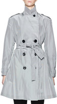 Olivier Theyskens Belted Micro-Check Trenchcoat, White/Black