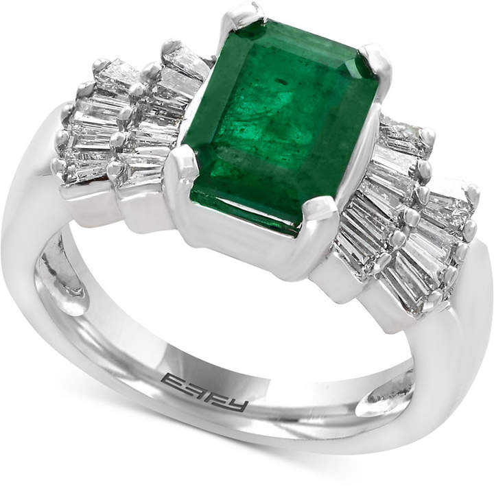 Effy Brasilica by Emerald (2-1/5 ct. t.w.) and Diamond (5/8 ct. t.w.) Ring in 14k White Gold, Created for Macy's